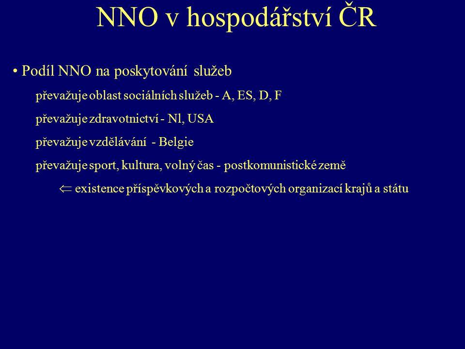 NNO v hospodářství ČR Podíl NNO na poskytování služeb