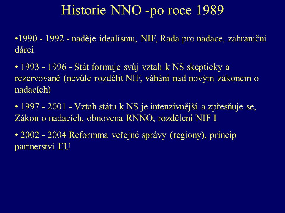 Historie NNO -po roce 1989 1990 - 1992 - naděje idealismu, NIF, Rada pro nadace, zahraniční dárci.