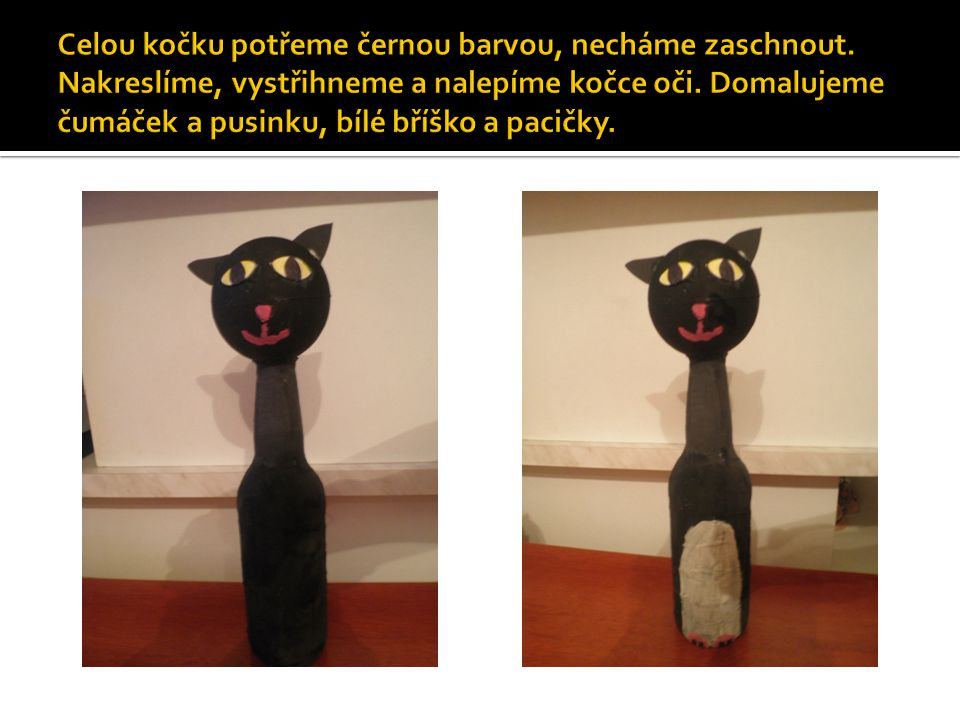 Celou kočku potřeme černou barvou, necháme zaschnout