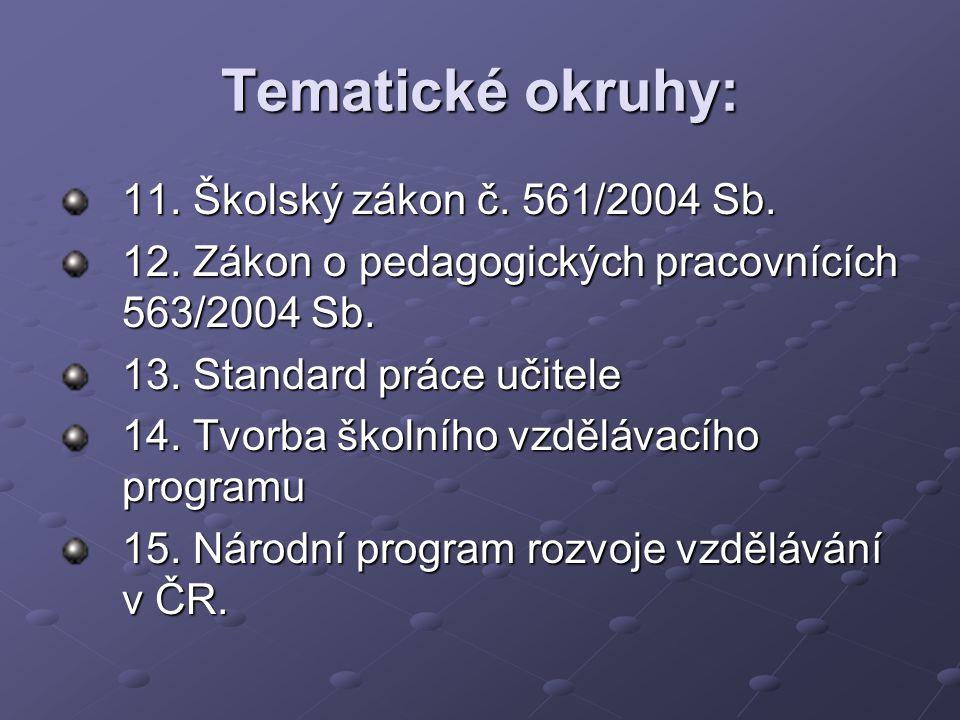 Tematické okruhy: 11. Školský zákon č. 561/2004 Sb.