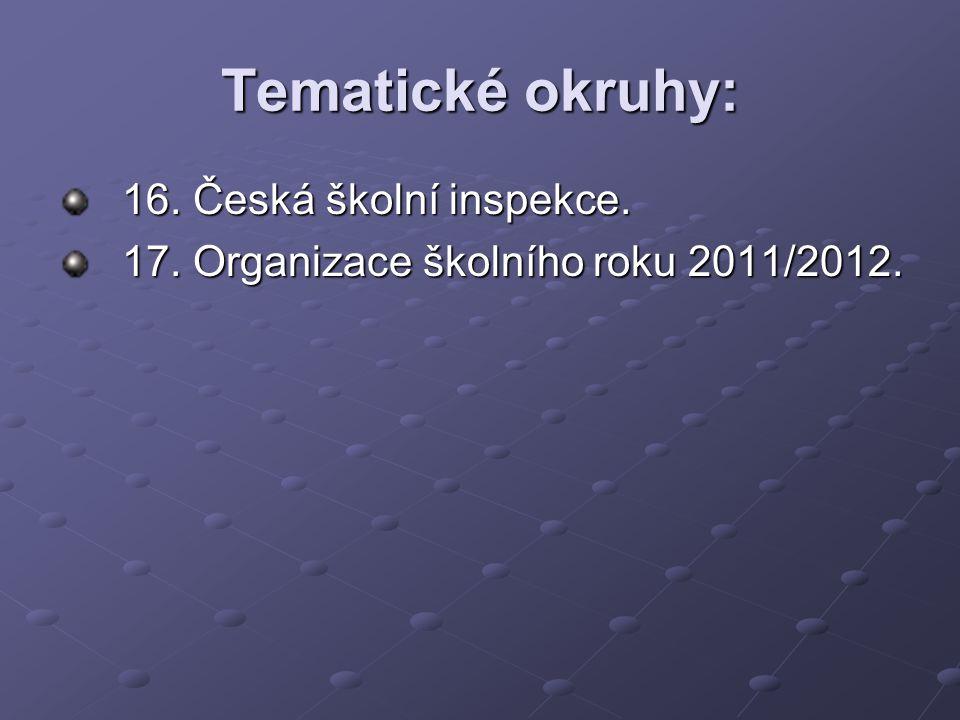 Tematické okruhy: 16. Česká školní inspekce.
