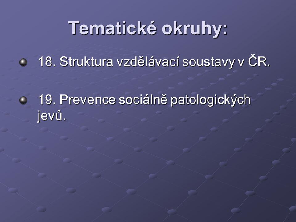 Tematické okruhy: 18. Struktura vzdělávací soustavy v ČR.
