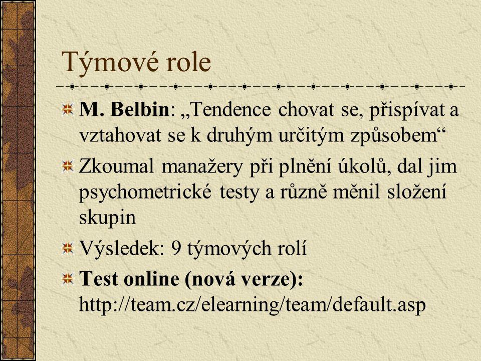 """Týmové role M. Belbin: """"Tendence chovat se, přispívat a vztahovat se k druhým určitým způsobem"""