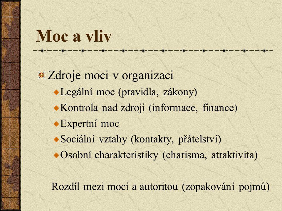 Moc a vliv Zdroje moci v organizaci Legální moc (pravidla, zákony)