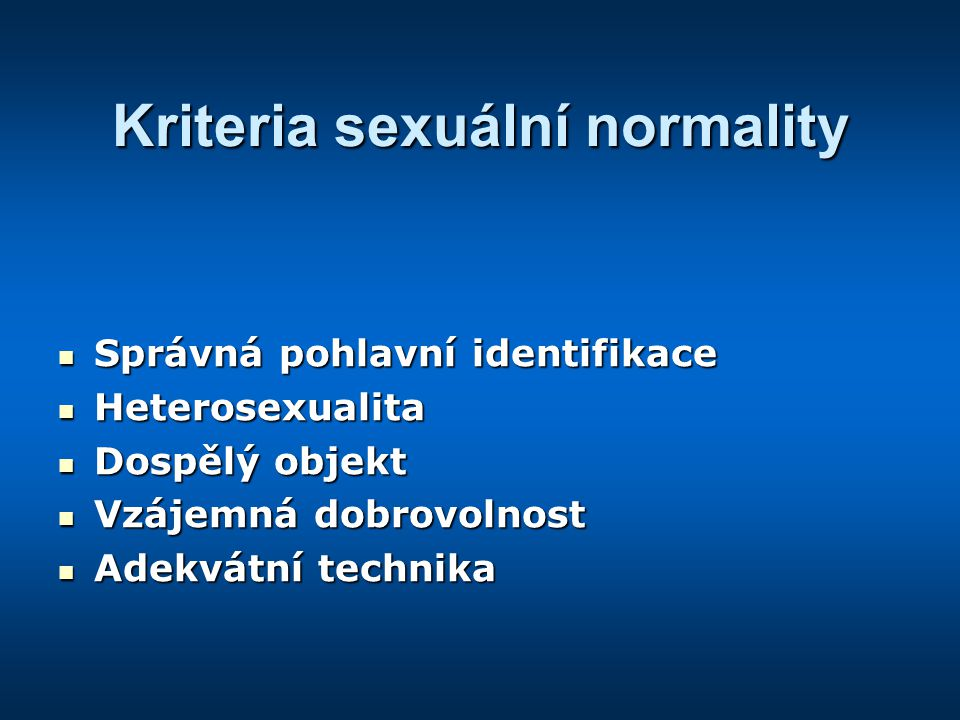 Kriteria sexuální normality