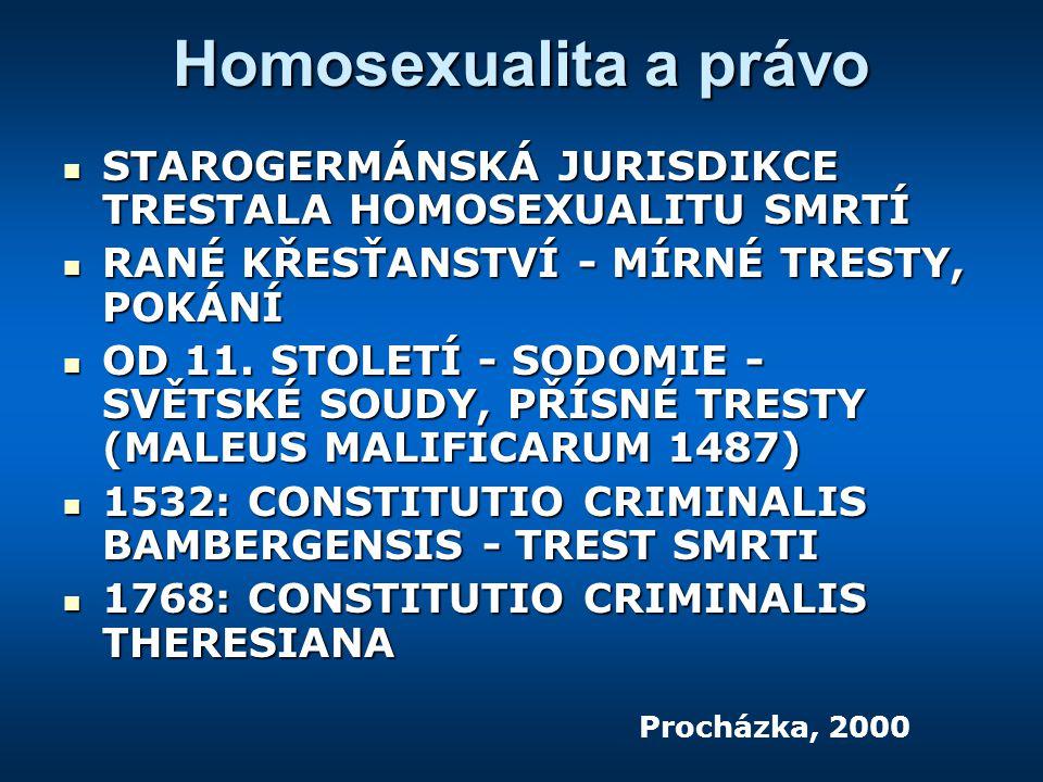 Homosexualita a právo STAROGERMÁNSKÁ JURISDIKCE TRESTALA HOMOSEXUALITU SMRTÍ. RANÉ KŘESŤANSTVÍ - MÍRNÉ TRESTY, POKÁNÍ.