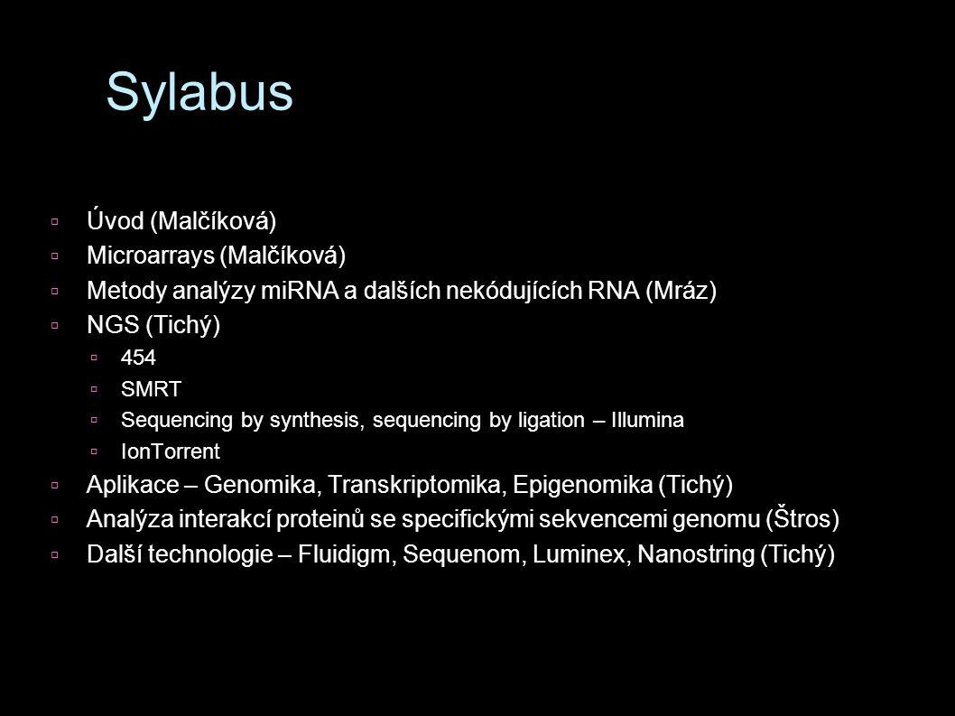 Sylabus Úvod (Malčíková) Microarrays (Malčíková)