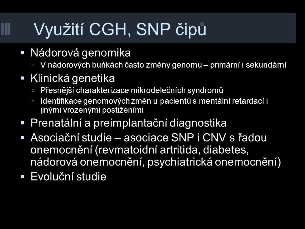 Využití CGH, SNP čipů Nádorová genomika Klinická genetika