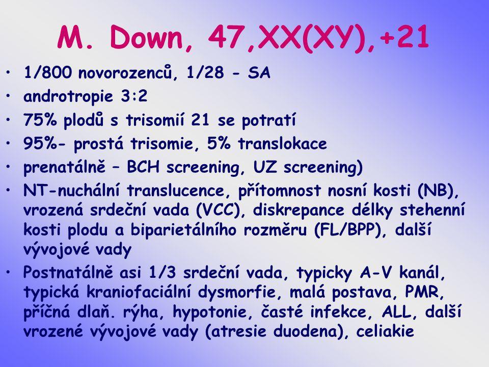 M. Down, 47,XX(XY),+21 1/800 novorozenců, 1/28 - SA androtropie 3:2