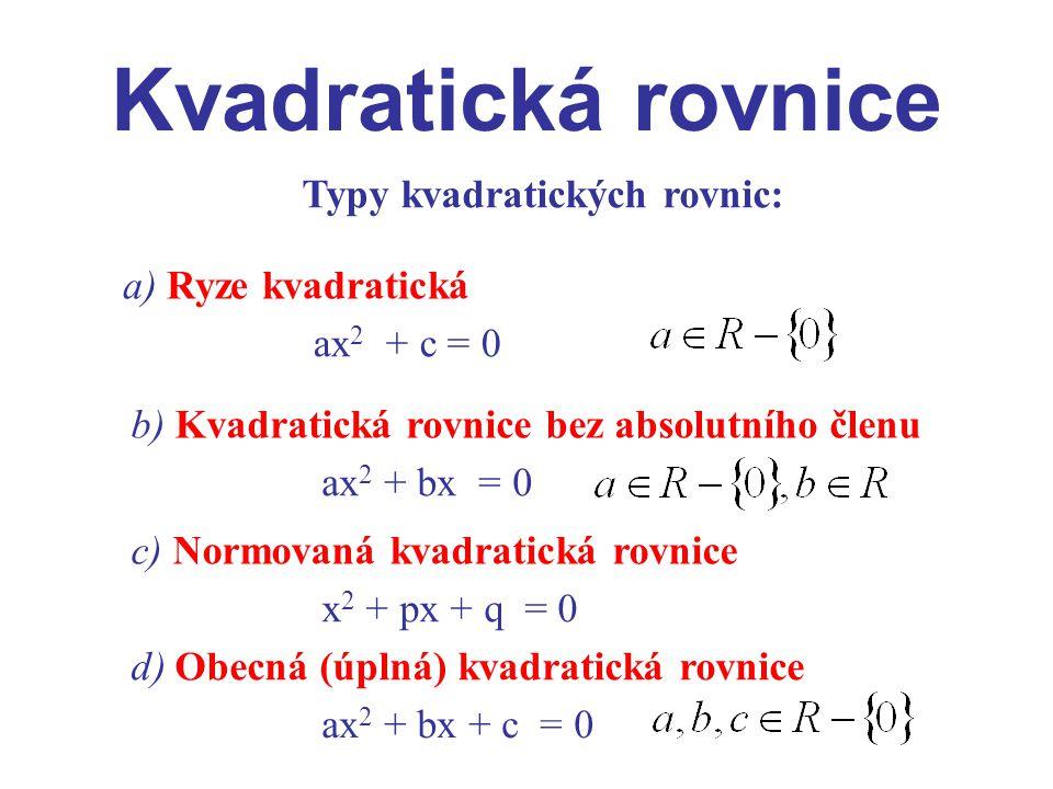 Typy kvadratických rovnic:
