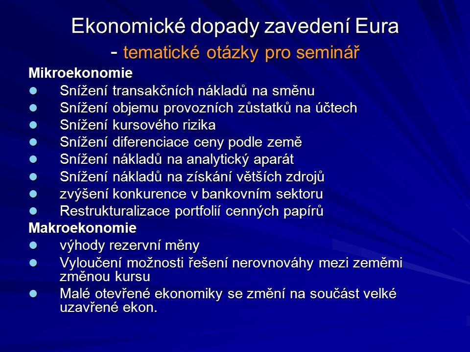 Ekonomické dopady zavedení Eura - tematické otázky pro seminář