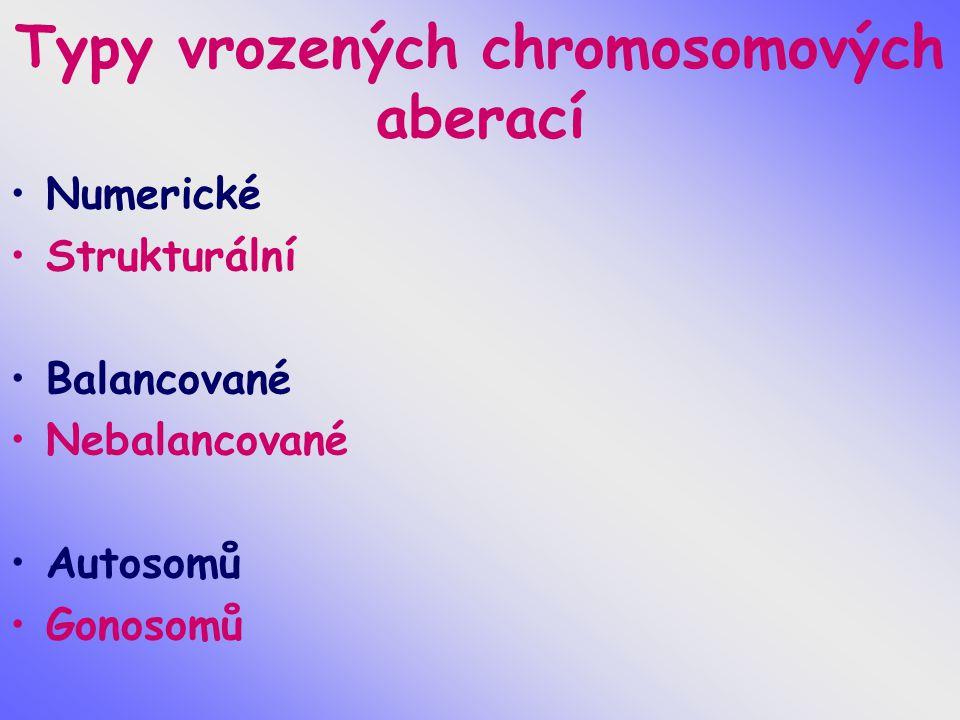 Typy vrozených chromosomových aberací
