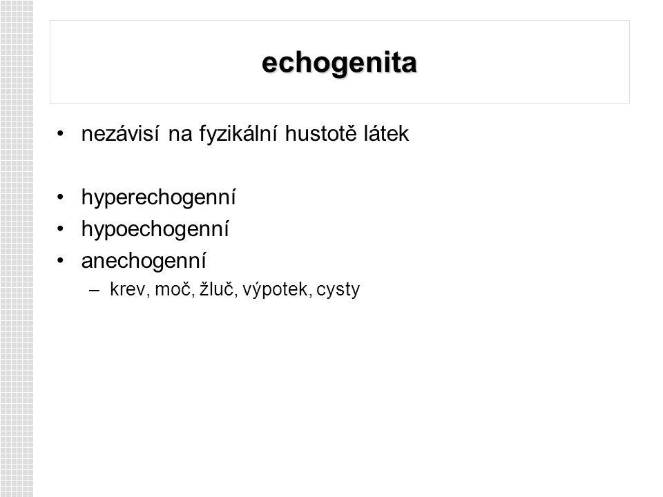 echogenita nezávisí na fyzikální hustotě látek hyperechogenní