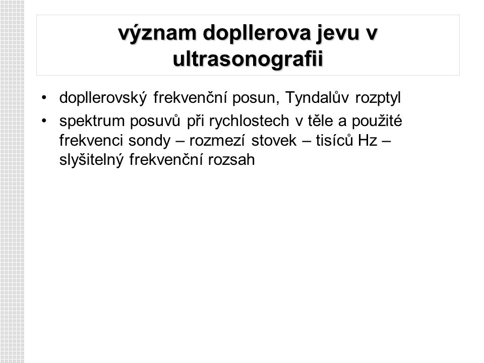 význam dopllerova jevu v ultrasonografii