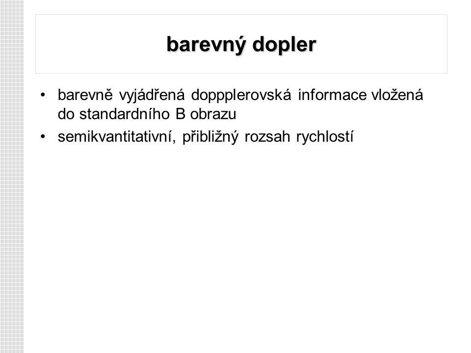 barevný dopler barevně vyjádřená doppplerovská informace vložená do standardního B obrazu.