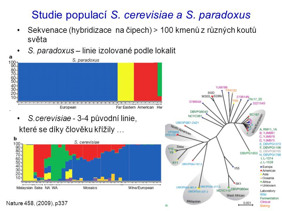 Studie populací S. cerevisiae a S. paradoxus