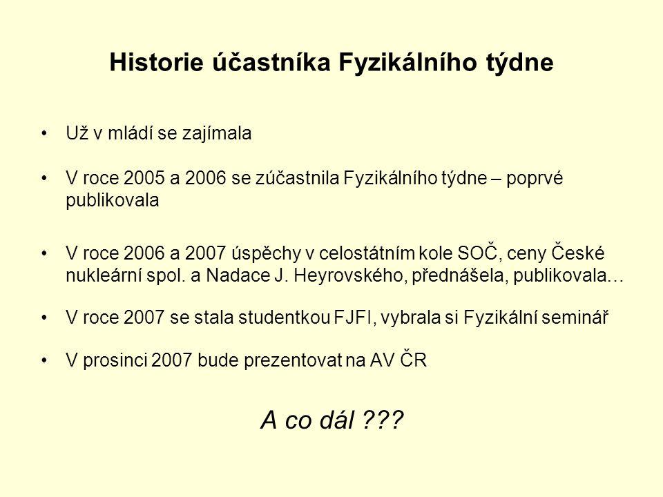 Historie účastníka Fyzikálního týdne