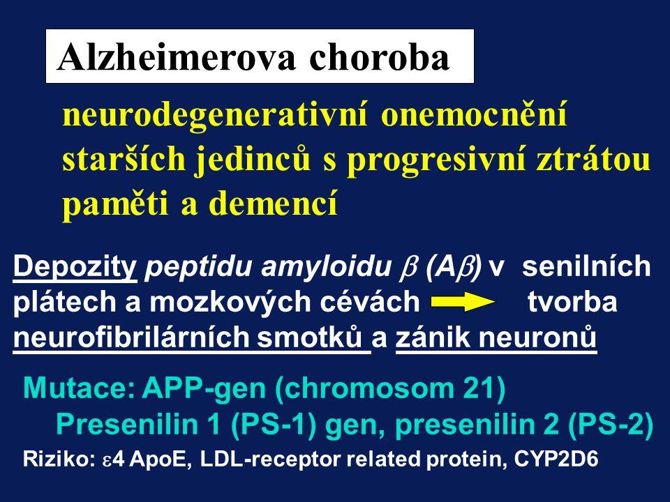 Alzheimerova choroba neurodegenerativní onemocnění starších jedinců s progresivní ztrátou. paměti a demencí.