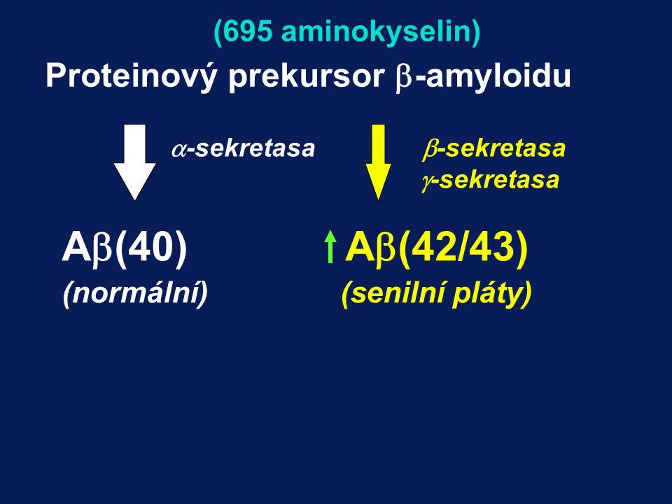 A(40) A(42/43) Proteinový prekursor -amyloidu (695 aminokyselin)