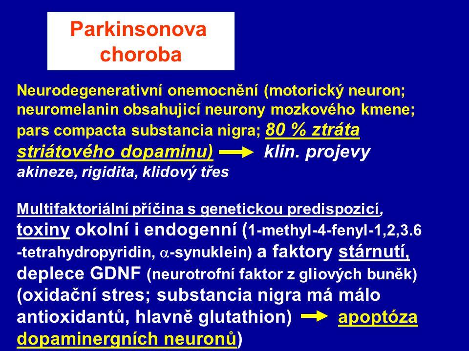 Parkinsonova choroba striátového dopaminu) klin. projevy