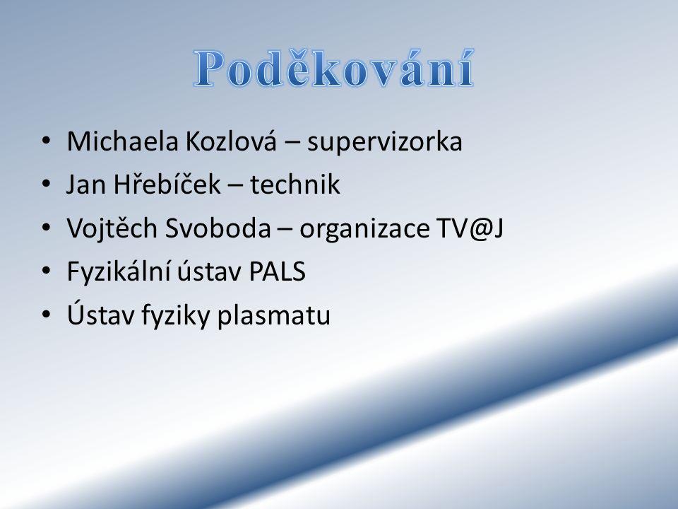 Poděkování Michaela Kozlová – supervizorka Jan Hřebíček – technik