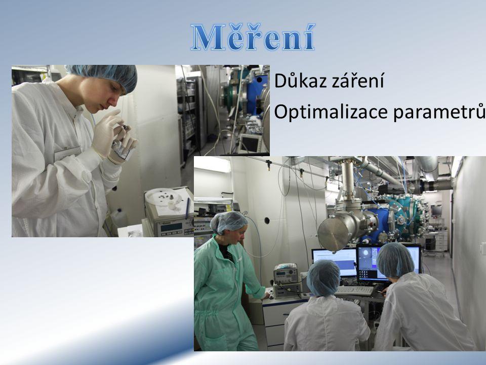 Měření Důkaz záření Optimalizace parametrů