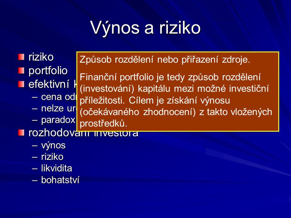 Výnos a riziko riziko portfolio efektivní kapitálový trh