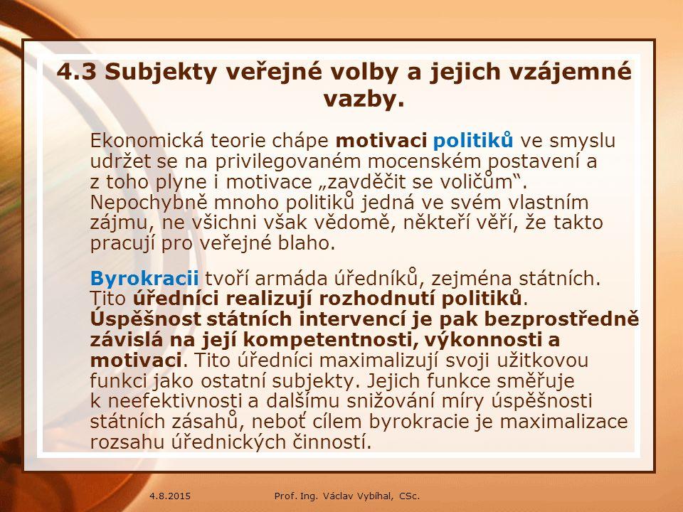 4.3 Subjekty veřejné volby a jejich vzájemné vazby.