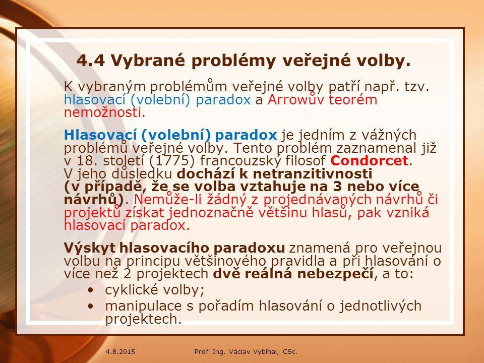 4.4 Vybrané problémy veřejné volby.