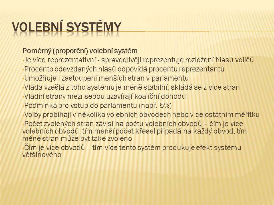 Volební systémy Poměrný (proporční) volební systém
