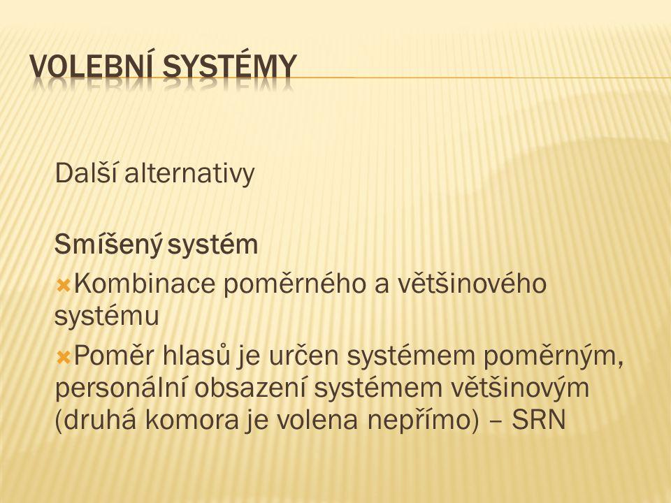 Volební systémy Další alternativy Smíšený systém