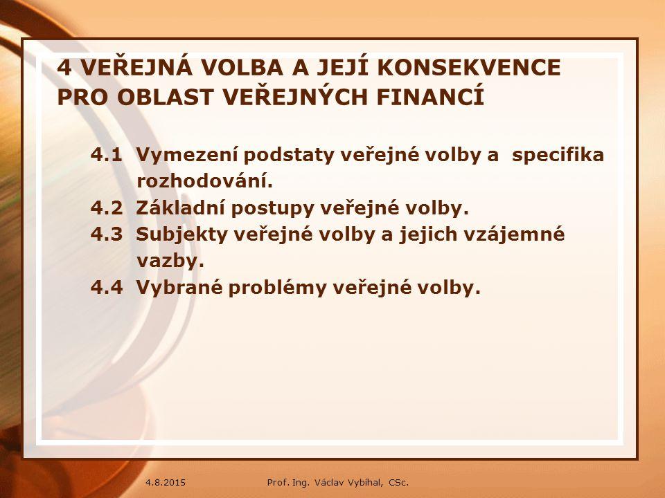 4 VEŘEJNÁ VOLBA A JEJÍ KONSEKVENCE PRO OBLAST VEŘEJNÝCH FINANCÍ