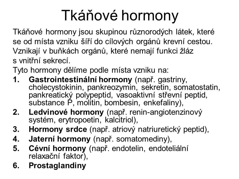 Tkáňové hormony Tkáňové hormony jsou skupinou různorodých látek, které