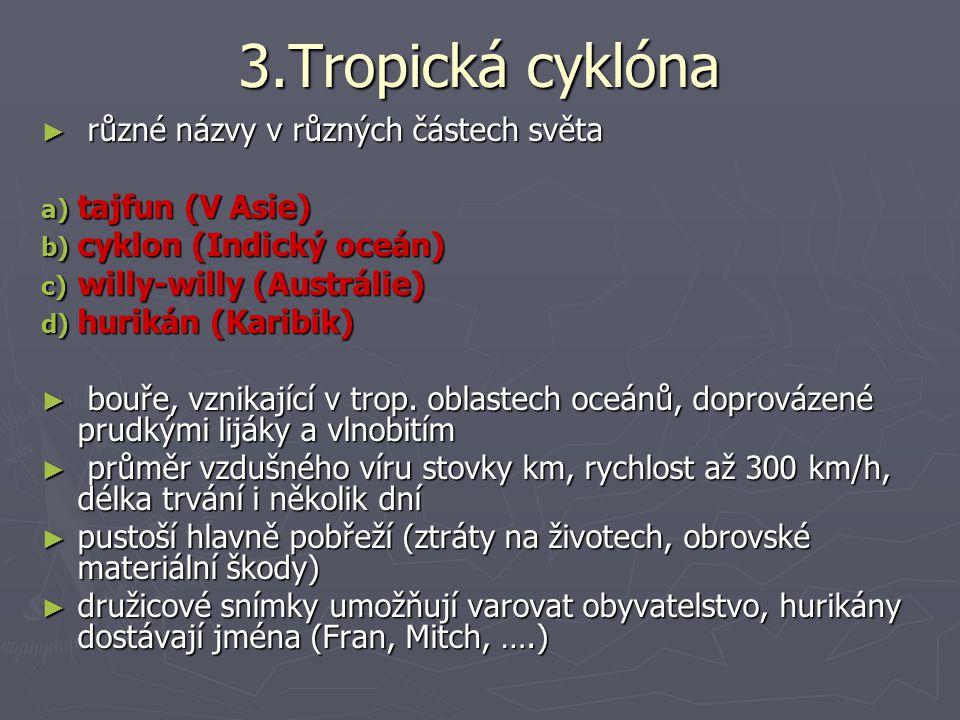 3.Tropická cyklóna různé názvy v různých částech světa tajfun (V Asie)
