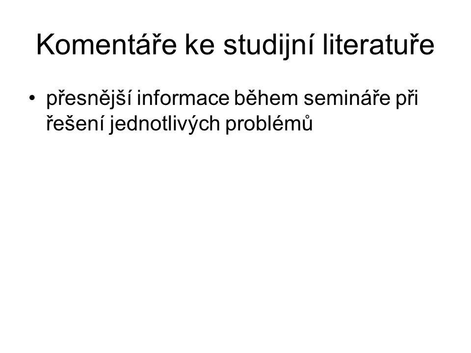 Komentáře ke studijní literatuře