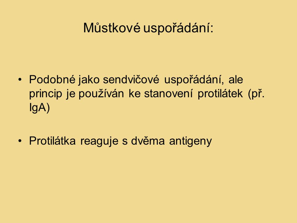 Můstkové uspořádání: Podobné jako sendvičové uspořádání, ale princip je používán ke stanovení protilátek (př. IgA)