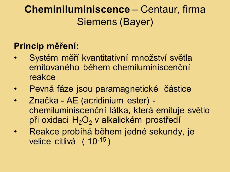 Cheminiluminiscence – Centaur, firma Siemens (Bayer)