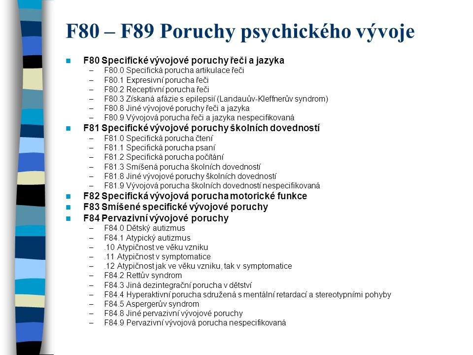 F80 – F89 Poruchy psychického vývoje