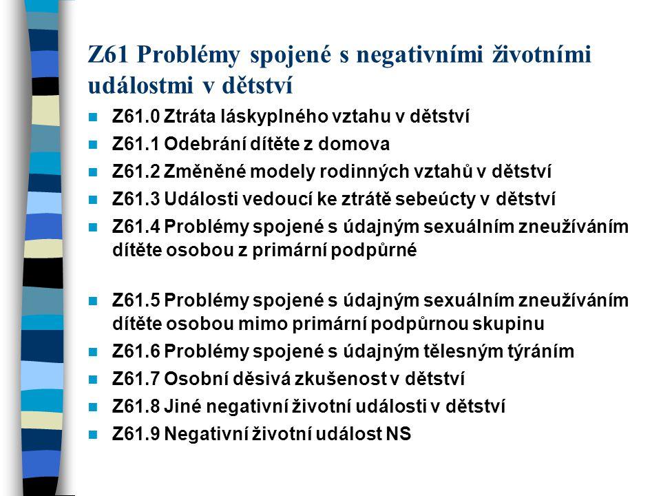 Z61 Problémy spojené s negativními životními událostmi v dětství