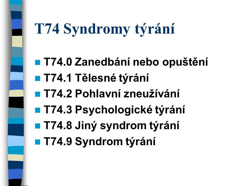T74 Syndromy týrání T74.0 Zanedbání nebo opuštění T74.1 Tělesné týrání