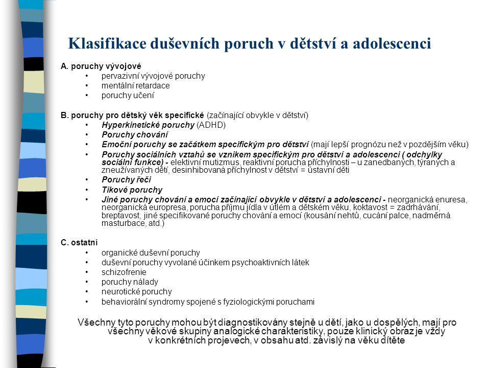 Klasifikace duševních poruch v dětství a adolescenci