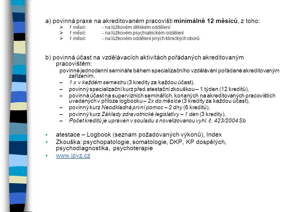 atestace – Logbook (seznam požadovaných výkonů), Index