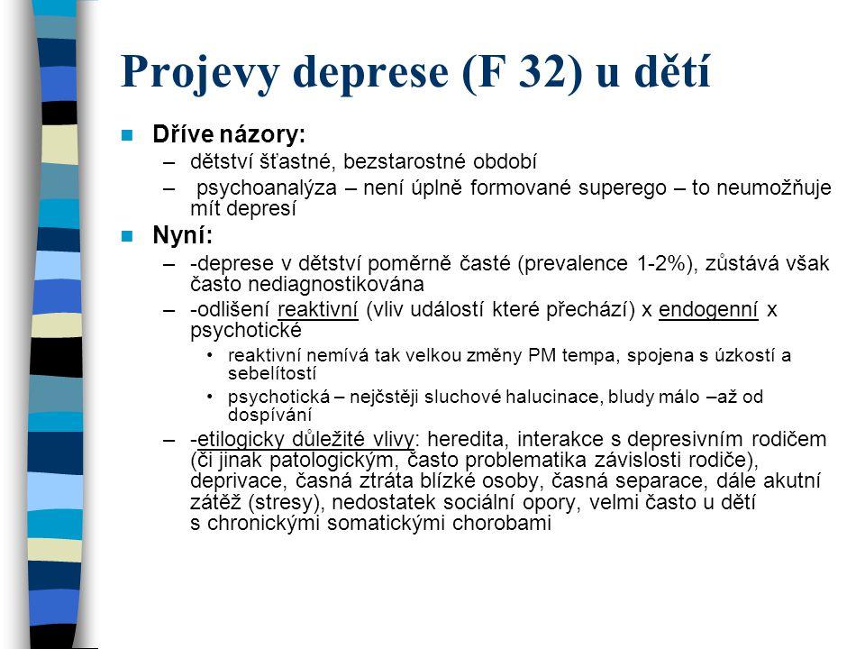 Projevy deprese (F 32) u dětí