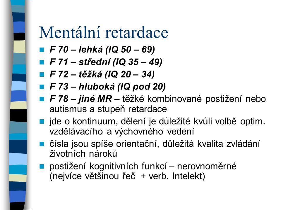 Mentální retardace F 70 – lehká (IQ 50 – 69)