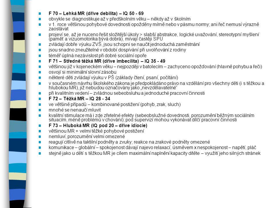 F 70 – Lehká MR (dříve debilita) – IQ 50 - 69