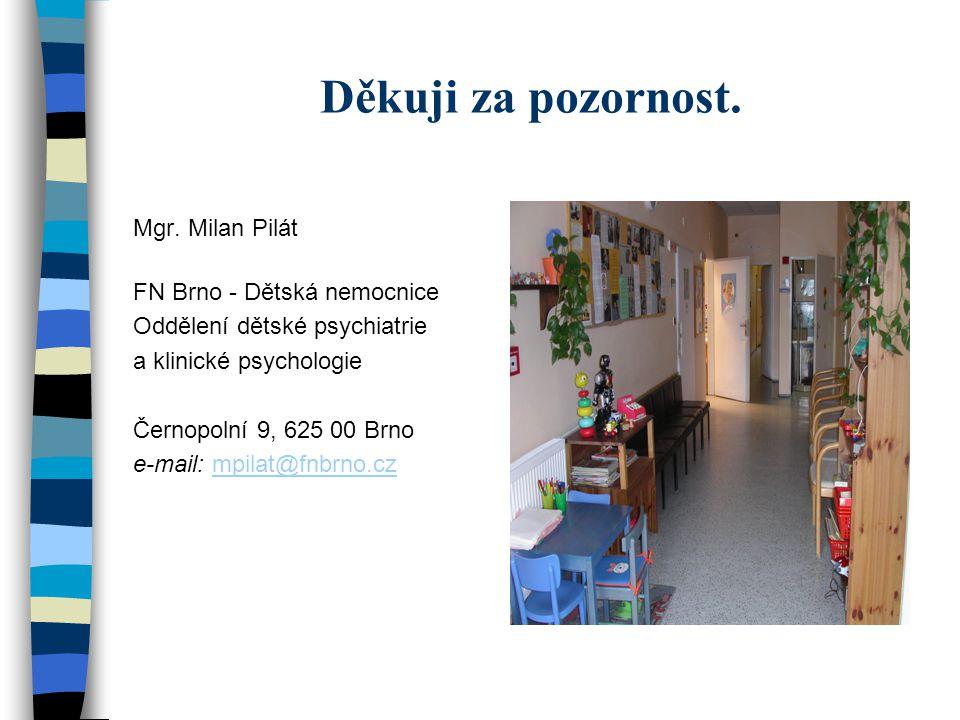 Děkuji za pozornost. Mgr. Milan Pilát FN Brno - Dětská nemocnice