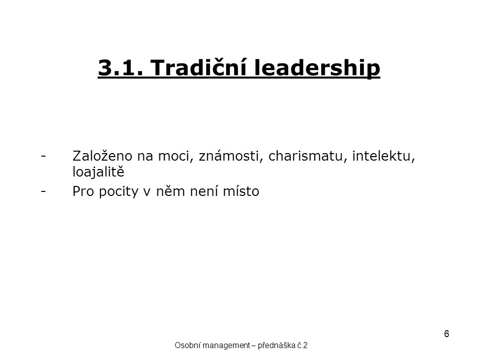 Osobní management – přednáška č.2