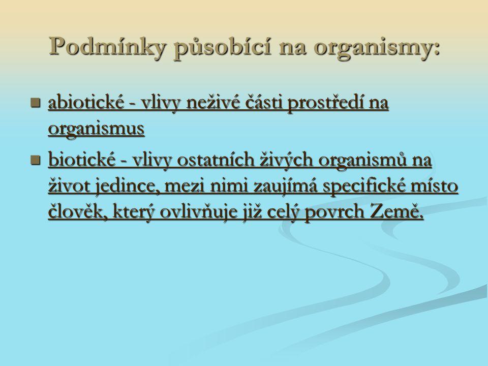 Podmínky působící na organismy:
