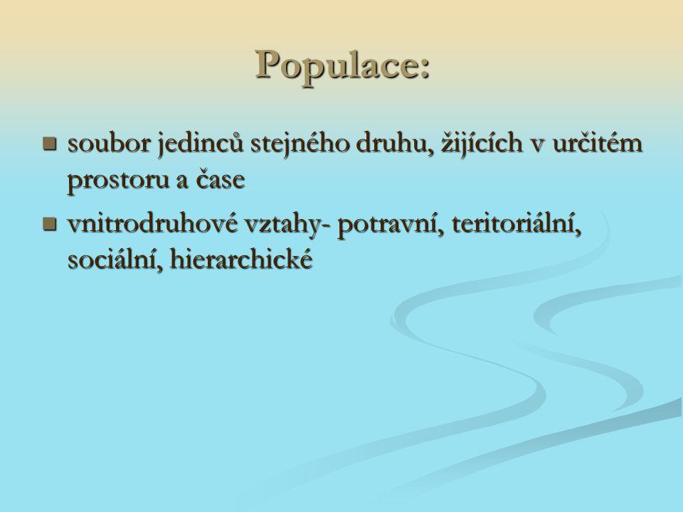 Populace: soubor jedinců stejného druhu, žijících v určitém prostoru a čase.