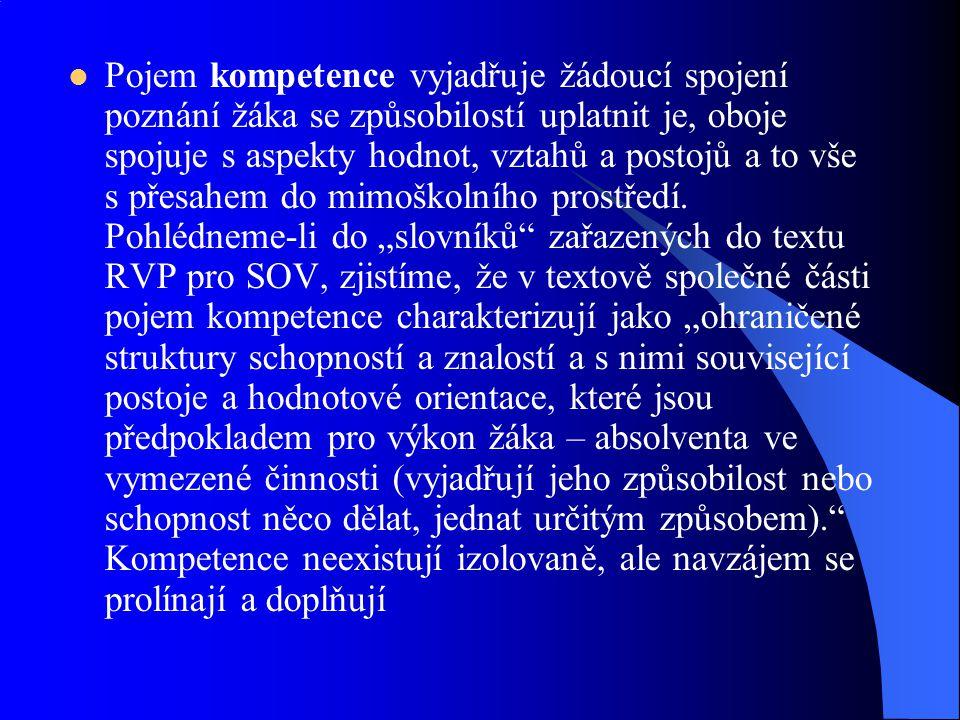Pojem kompetence vyjadřuje žádoucí spojení poznání žáka se způsobilostí uplatnit je, oboje spojuje s aspekty hodnot, vztahů a postojů a to vše s přesahem do mimoškolního prostředí.